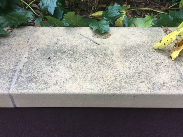 Decorative concrete garden wall cap in Scotts Valley, Ca Before