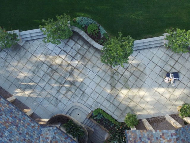 Aerial view of decorative concrete cleaning and sealing in saratoga, Ca Before